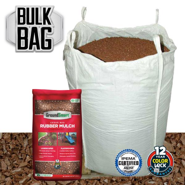 Bulk Rubber Mulch Ordering | GroundSmart Bulk Bag | Cedar Red