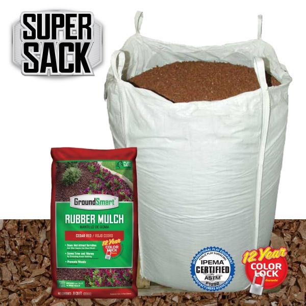 Bulk Rubber Mulch Ordering   GroundSmart Super Sack   Cedar Red