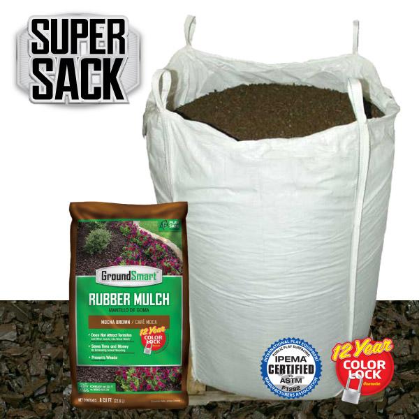 Bulk Rubber Mulch Ordering | GroundSmart Super Sack | Mocha Brown