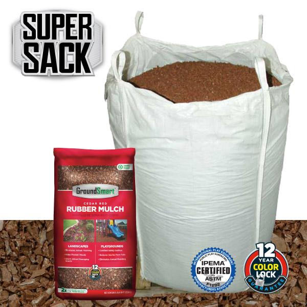 Bulk Rubber Mulch Ordering | GroundSmart Super Sack | Cedar Red