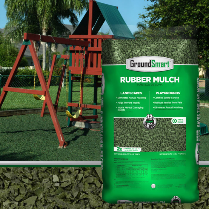 Green Rubber Mulch | Play Safe | Does Not Attract Termites | Keep Color| Playgrounds and landscaping | GroundSmart